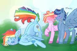 Size: 900x600 | Tagged: safe, artist:shinningblossom12, oc, oc only, oc:rainbow ink, oc:rainbow sky, pegasus, pony, blushing, colored hooves, dock, embarrassed, eyes closed, face down ass up, female, licking, licking lips, male, mare, multicolored hair, not rainbow dash, pegasus oc, rainbow hair, raised hoof, sleeping, spread wings, stallion, tongue out, wingboner, wings