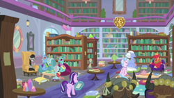 Size: 1920x1080 | Tagged: safe, screencap, big macintosh, carapace (character), ocellus, octavia melody, seaspray, silverstream, starlight glimmer, changeling, earth pony, hippogriff, unicorn, yak, a horse shoe-in