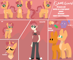 Size: 2380x1960 | Tagged: safe, artist:nootaz, oc, oc:game guard, human, colt, glasses, humanized, male, reference sheet
