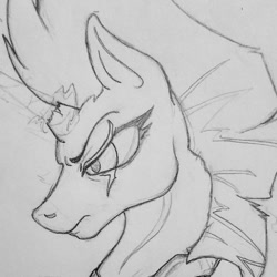 Size: 1080x1081 | Tagged: safe, artist:serpentine-69, tempest shadow, pony, unicorn, broken horn, bust, eye scar, female, frown, horn, lineart, mare, scar, solo, traditional art