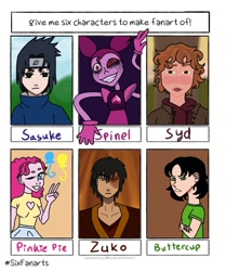 Size: 1005x1200 | Tagged: safe, artist:demitheyoungartist, pinkie pie, human, six fanarts, avatar the last airbender, buttercup (powerpuff girls), clothes, crossover, eye scar, female, humanized, i am not okay with this, makeup, male, naruto, one eye closed, peace sign, running makeup, scar, smiling, spinel (steven universe), steven universe, swirly eyes, sydney novak, the powerpuff girls, uchiha sasuke, wink, zuko