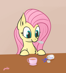 Size: 1096x1222 | Tagged: safe, artist:purblehoers, fluttershy, pegasus, pony, bust, cute, female, food, happy, implied big macintosh, mare, mouth hold, pills, shyabetes, solo, spoon, table, tea, viagra