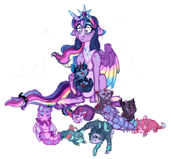 Size: 1160x1075 | Tagged: safe, artist:saphi-boo, twilight sparkle, oc, alicorn, changedling, changeling, changeling larva, changepony, hybrid, pony, colored wings, crown, female, floppy ears, interspecies offspring, jewelry, mother and child, multicolored wings, offspring, parent:pharynx, parent:twilight sparkle, parents:pharlight, regalia, simple background, twilight sparkle (alicorn), white background, wings