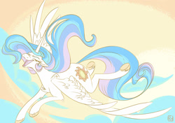 Size: 1700x1200   Tagged: safe, artist:pegasister223, princess celestia, alicorn, pony, cloud, cute, cutelestia, eyes closed, female, floppy ears, flying, happy, mare, open mouth, solo