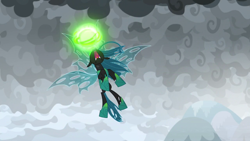 Size: 1280x720 | Tagged: safe, screencap, queen chrysalis, changeling, the ending of the end, angry, cloud, desperate, fangs, fight, flying, forked tongue, frown, furious, magic, satisfying frown, solo, ultimate chrysalis