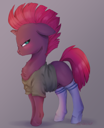 Size: 2965x3640 | Tagged: safe, artist:buttersprinkle, fizzlepop berrytwist, tempest shadow, unicorn, blushing, broken horn, clothes, cute, female, floppy ears, frown, grumpy, hnnng, horn, shirt, simple background, socks, solo, solo female, tempestbetes, thigh highs, tsundere, weapons-grade cute