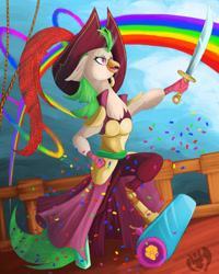 Size: 2400x3000 | Tagged: safe, artist:kenisu-of-dragons, captain celaeno, anthro, bird, parrot, my little pony: the movie, amputee, cannon, female, hat, high res, party cannon, pirate, pirate hat, prosthetic leg, prosthetic limb, prosthetics, rainbow, sky, solo, sword, weapon