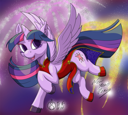 Size: 1200x1080 | Tagged: safe, artist:sepiakeys, twilight sparkle, alicorn, pony, cheongsam, chinese new year, clothes, eyeshadow, female, fireworks, hoof shoes, makeup, mare, signature, smiling, solo, spread wings, twilight sparkle (alicorn), wings