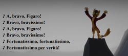 Size: 1295x576 | Tagged: safe, edit, edited screencap, screencap, capper dapperpaws, abyssinian, anthro, my little pony: the movie, backlit, clothes, coat, gioacchino rossini, italian, largo al factotum, lyrics, male, mount aris, singing, song reference, text, the barber of seville