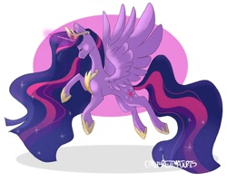Size: 1024x820 | Tagged: safe, artist:canisrettmajoris, twilight sparkle, alicorn, pony, the last problem, crown, eyes closed, female, glowing horn, hoof shoes, horn, jewelry, mare, older, peytral, princess twilight 2.0, regalia, signature, smiling, solo, spread wings, twilight sparkle (alicorn), wings