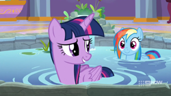 Size: 1280x720   Tagged: safe, screencap, rainbow dash, twilight sparkle, alicorn, pegasus, pony, deep tissue memories, spoiler:deep tissue memories, spoiler:mlp friendship is forever, cute, dashabetes, duo, female, folded wings, hot tub, looking at each other, looking back, mare, ponyville spa, raised eyebrow, smiling, twilight sparkle (alicorn), water, wet mane, wet mane rainbow dash, wings