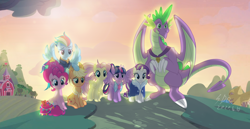 Size: 1366x703 | Tagged: safe, artist:thurder2020, applejack, fluttershy, pinkie pie, rainbow dash, rarity, spike, twilight sparkle, alicorn, dragon, earth pony, pegasus, pony, unicorn, adult, adult spike, alternate design, alternate ending, alternate timeline, alternate universe, mane seven, mane six, older, older applejack, older fluttershy, older mane seven, older mane six, older pinkie pie, older rainbow dash, older rarity, older spike, older twilight, redesign, spread wings, sunset, twilight sparkle (alicorn), twilight will not outlive her friends, winged spike, wings