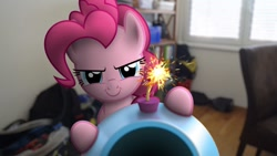 Size: 1280x720 | Tagged: safe, artist:stormxf3, pinkie pie, earth pony, pony, >:), bookshelf, evil grin, female, fuse, grin, ignition, imminent pain, irl, looking at you, mare, party cannon, photo, ponies in real life, smiling, solo, the fourth wall cannot save you, this will not end well, youtube