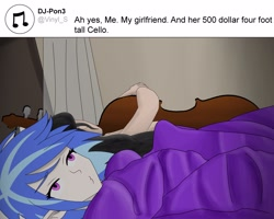 Size: 3000x2400 | Tagged: safe, artist:moonred4000, dj pon-3, octavia melody, vinyl scratch, equestria girls, ah yes me my girlfriend and her x, bedroom, female, joke, lesbian, meme, ponified meme, scratchtavia, shipping, sleeping