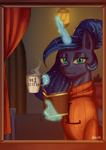 Size: 1240x1754 | Tagged: safe, artist:nire, princess luna, alicorn, pony, unicorn, bedroom, book, canterlot, castle, clothes, female, ponytail, solo, sunset, sweater, window