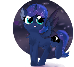 Size: 2598x2362 | Tagged: safe, artist:jubyskylines, princess luna, alicorn, pony, blushing, chest fluff, cute, ear fluff, female, high res, lunabetes, mare, simple background, solo, tongue out, transparent background, two toned wings, wings
