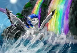 Size: 1280x889 | Tagged: safe, artist:sizaru, oc, oc only, pegasus, pony, commission, digital art, female, flying, mare, rainbow waterfall, sky, solo, spread wings, water, waterfall, wings