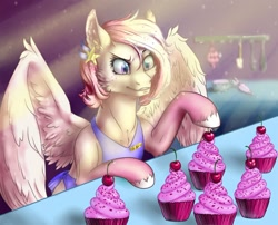 Size: 1280x1033 | Tagged: safe, artist:sizaru, oc, oc only, pegasus, pony, apron, cherry, clothes, commission, cupcake, digital art, ear piercing, earring, female, food, holding, icing bag, jewelry, kitchen, mare, piercing, solo, spread wings, sprinkles, wings