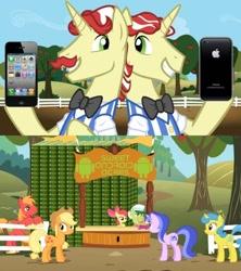 Size: 500x562 | Tagged: safe, edit, edited screencap, screencap, apple bloom, applejack, big macintosh, flam, flim, granny smith, lemon hearts, sea swirl, seafoam, earth pony, pony, unicorn, the super speedy cider squeezy 6000, android (os), background pony, iphone, meme, sweet apple acres