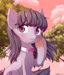 Size: 1024x1195 | Tagged: safe, artist:symbianl, octavia melody, earth pony, pony, blushing, bust, cloud, cute, female, frog (hoof), mare, portrait, solo, sunset, tavibetes, tree, underhoof