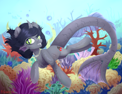 Size: 3900x3000 | Tagged: safe, artist:agnes_ra1, half-siren, hybrid, pony, bubble, commission, curved horn, fangs, fins, fish tail, fluffy, grin, horn, jewelry, kellin quinn, looking at you, male, necklace, ocean, ponified, scales, sleeping with sirens, slit eyes, smiling, solo, swimming, underwater, water, ych result