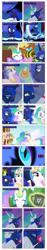Size: 868x4638 | Tagged: safe, artist:dziadek1990, edit, edited screencap, screencap, nightmare moon, princess celestia, princess luna, a royal problem, between dark and dawn, do princesses dream of magic sheep, friendship is magic, mmmystery on the friendship express, bed, comic, cute, description is relevant, family, female, food, lotta little things, love, pancakes, requested art, screencap comic, siblings, sisters, sleeping, song, song reference, sweat