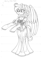 Size: 2550x3610   Tagged: safe, artist:supra80, oc, oc:cold front, anthro, pegasus, unguligrade anthro, anthro oc, black and white, clothes, crossdressing, dress, femboy, grayscale, lingerie, male, monochrome, see-through, sketch, traditional art, underwear, wedding dress, wings