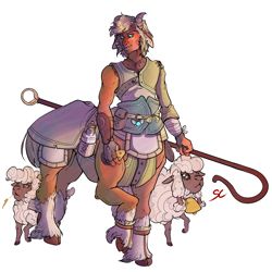 Size: 1772x1772 | Tagged: safe, artist:sourcherry, oc, oc only, centaur, sheep, fallout equestria, bell, centaur oc, clothes, curved horn, horn, horns, legend of zelda: twilight princess, link, milk, milk bottle, musical instrument, ocarina, shepherd, shepherd's crook, smiling, the legend of zelda, unshorn fetlocks