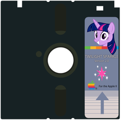 Size: 2163x2135 | Tagged: safe, artist:badumsquish, derpibooru exclusive, twilight sparkle, alicorn, pony, apple ii, cutie mark, disk, female, floppy disk, grin, logo, looking at you, mare, pun, smiling, twiggy disk, twilight sparkle (alicorn), visual pun