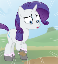 Size: 2900x3200   Tagged: safe, artist:devfield, rarity, pony, unicorn, atg 2020, bush, clothes, cloud, female, grass, hill, mare, marshmelodrama, motion lines, mud, muddy, newbie artist training grounds, rarity being rarity, ribbon, shadow, shocked, shocked expression, shoes, show accurate, sky, solo, this will end in tears