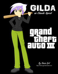 Size: 2563x3300 | Tagged: safe, artist:shinta-girl, part of a set, gilda, equestria girls, backless, baseball bat, black background, claude speed, clothes, commission, cosplay, costume, crossover, digital art, equestria girls-ified, eyeshadow, female, full body, grand theft auto, gta iii, hand in pocket, high res, human coloration, jacket, left handed, lidded eyes, looking at you, makeup, narrowed eyes, outfit, pants, parody, pocket, reference, serious, serious face, shirt, shoes, signature, simple background, solo, standing, t-shirt, video game, video game crossover, video game reference, weapon, yellow eyes