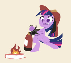 Size: 1196x1074 | Tagged: safe, artist:ikarooz, twilight sparkle, pony, unicorn, atg 2020, bipedal, book, crying, female, filly, filly twilight sparkle, fire, fire extinguisher, firefighter, firefighter helmet, firefighter twilight, hat, helmet, hoof hold, mare, newbie artist training grounds, no pupils, on fire, solo, teary eyes, that pony sure does love books, unicorn twilight, younger