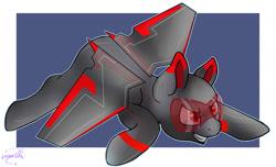 Size: 1687x1027 | Tagged: safe, artist:lechu-zaz, oc, original species, plane pony, pony, glasses, metal, plane, red eyes, wings