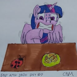 Size: 1816x1816 | Tagged: safe, artist:rapidsnap, twilight sparkle, alicorn, insect, ladybug, coccinellidaephobia, food, gritted teeth, quesadilla, scared, shaking, sweat, sweatdrops, traditional art, turophobia, twilight sparkle (alicorn)