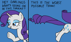 Size: 1250x750 | Tagged: safe, artist:nopony, rarity, pony, unicorn, 2 panel comic, atg 2020, blue background, comic, darling, female, mare, newbie artist training grounds, running, simple background, solo, talking, text, the worst possible thing, what's going on in this thread