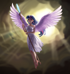 Size: 4598x4800 | Tagged: safe, artist:racoonsan, edit, twilight sparkle, alicorn, human, my little pony: the movie, absurd resolution, alicorn humanization, anime, barefoot, clothes, feet, female, flying, horn, horned humanization, humanized, scene interpretation, sfw edit, solo, spread wings, staff, staff of sacanas, twilight sparkle (alicorn), winged humanization, wings