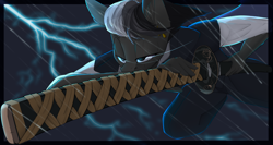 Size: 3000x1600 | Tagged: safe, artist:chapaevv, oc, oc only, oc:shadow dash, anthro, bat pony, clothes, commission, katana, lightning, male, sky, solo, sword, weapon, ych result
