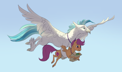 Size: 2442x1446 | Tagged: safe, artist:varwing, scootaloo, terramar, classical hippogriff, hippogriff, pegasus, pony, alternate cutie mark, blushing, bread, carrying, colored hooves, female, flying, food, holding a pony, jewelry, male, necklace, older, paper bag, scootalove, shipping, sky, spread wings, straight, terraloo, wings