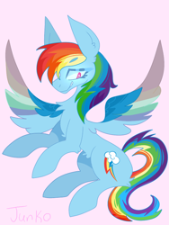 Size: 600x800   Tagged: safe, artist:junko, derpibooru exclusive, rainbow dash, pegasus, pony, big ears, chest fluff, cute, dashabetes, digital art, ear fluff, female, flying, grin, looking offscreen, mare, paint tool sai, rainbow, side view, simple background, smiling, smirk, solo, spread wings, wings
