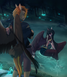 Size: 3120x3598   Tagged: safe, artist:askbubblelee, oc, oc:daniel dasher, oc:singe, anthro, dracony, dragon, hybrid, pegasus, pony, unguligrade anthro, anthro oc, clothes, colored wings, couple, digital art, gay, male, multicolored hair, multicolored wings, multihued hair, multihued tail, oc x oc, pegasus oc, scar, shipping, smiling, story in the source, torn clothes, water, wings