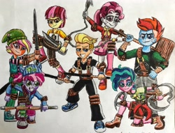 Size: 3695x2816 | Tagged: safe, artist:bozzerkazooers, oc, oc only, oc:ace, oc:clover bloom, oc:half note, oc:melody, oc:patch, oc:sweetheart, oc:teddy, equestria girls, baton, belt, boots, butterfly sword, chain claw, chakram, clothes, hammer, hat, looking at you, martial arts, microphone, ninja, pants, pose, poster, shinia bamboo sword, shirt, shoes, simple background, skirt, smiling, sneakers, sweater, sweater around waist, tang sword, traditional art, war hammer, weapon, white background
