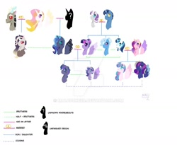 Size: 1280x1048 | Tagged: safe, artist:malupokebr, discord, night light, princess cadance, princess celestia, princess flurry heart, princess luna, shining armor, trixie, twilight sparkle, twilight velvet, alicorn, hybrid, alternate universe, dislestia, family tree, female, headcanon, interspecies offspring, lesbian, male, nightvelvet, offspring, parent:discord, parent:princess cadance, parent:princess celestia, parent:shining armor, parents:dislestia, parents:shiningcadance, shiningcadance, shipping, simple background, straight, twilight sparkle (alicorn), twiluna, white background