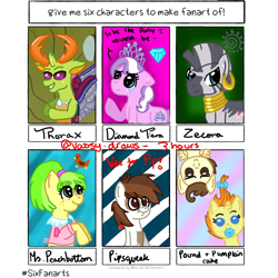 Size: 1080x1080 | Tagged: safe, artist:vassy.draws, chickadee, diamond tiara, ms. peachbottom, pipsqueak, pound cake, pumpkin cake, thorax, zecora, bird, changedling, changeling, chicken, earth pony, pegasus, pony, unicorn, zebra, six fanarts, baby, baby pony, bow, bust, cake twins, clothes, colt, crying, diamond, ear piercing, earring, female, filly, freckles, grin, hair bow, hooves together, jewelry, king thorax, male, mare, neck rings, pacifier, piercing, raised hoof, siblings, smiling, text, tiara, twins, underhoof, upside down