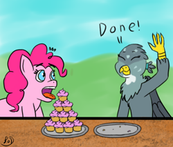 Size: 1000x850 | Tagged: safe, artist:paw-of-darkness, gabby, pinkie pie, earth pony, griffon, pony, atg 2020, cupcake, cute, food, gabbybetes, newbie artist training grounds, plates, surprised