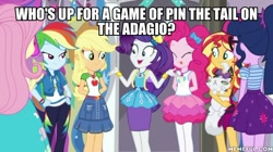 Size: 600x337 | Tagged: safe, edit, edited screencap, screencap, applejack, fluttershy, opalescence, pinkie pie, rainbow dash, rarity, sci-twi, spike, spike the regular dog, sunset shimmer, twilight sparkle, dog, equestria girls, fomo, spoiler:eqg series (season 2), :p, caption, humane five, humane seven, humane six, image macro, mlem, offscreen character, silly, text, tongue out