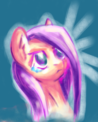 Size: 3157x3925   Tagged: safe, artist:coco-drillo, fluttershy, pegasus, pony, angry, bust, colourful, crying, determined, ear fluff, female, natg2020, newbie artist training grounds, portrait, simple background, solo, teary eyes