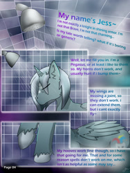 Size: 2600x3462   Tagged: safe, artist:jesterpi, oc, oc:jester pi, pegasus, comic:a jester's tale, comic, horns, pannels, shower, text, water, wet, wings