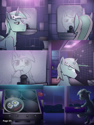 Size: 2601x3464   Tagged: safe, artist:jesterpi, oc, oc:jester pi, pegasus, comic:a jester's tale, bathroom, breakfast, brushing teeth, comic, cooking, horns, mirror, pannels, text, water, wet, wings