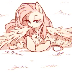 Size: 1150x1150 | Tagged: safe, artist:anonymous, fluttershy, bird, chicken, pegasus, pony, /mlp/, 4chan, blushing, chick magnet, chicks, cute, drawthread, eyes closed, female, fluffy, fluttermom, grass, hiding behind wing, hiding under pony, hug, kindness, lidded eyes, mare, prone, shyabetes, smiling, solo, spread wings, weapons-grade cute, wing fluff, wing shelter, wings