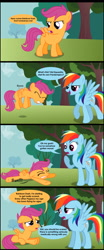 Size: 1000x2415 | Tagged: safe, artist:veggie55, edit, editor:scootabuser, rainbow dash, scootaloo, pegasus, pony, bully, bullying, comic, cropped, crying, female, filly, mare, op is a duck, out of character, rainbow douche, sarcasm, scootaloo can't fly, tree
